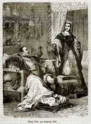 Katherine attends King Henry VIII from John Cassell's 'History of England'
