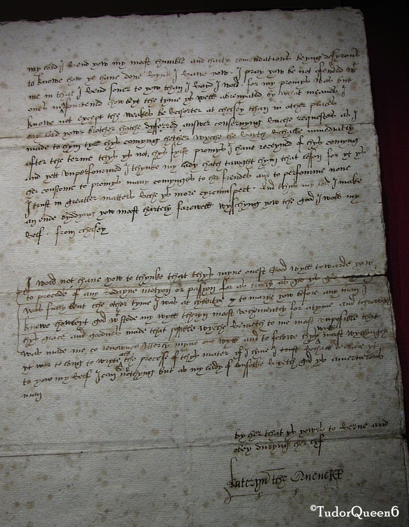 The actual letter from Katherine to Seymour as shown at Sudeley Castle, February 1547.