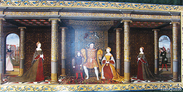 """The """"Succession Portrait"""", c. 1544, artist, after Holbein.Hampton Court Palace. © TudorQueen6 The portrait was done while Katherine Parr was queen, features Prince Edward's mother, Queen Jane Seymour."""