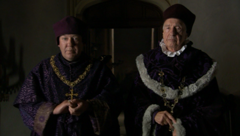 "Bishop Cuthbert Tunstall [right] confronts Katherine of Aragon in ""The Tudors""."