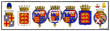 Coat of arms relating to those mentioned below who married or are in the Holland family.
