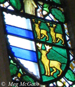 The arms of Parr and Green from the Pedigree window of Katherine Parr in the great hall of Hampton Court Palace, London.