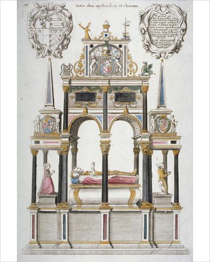 Monument of William Herbert, Earl of Pembroke, in old St Paul's Cathedral, City of London, 1656. Artist: Wenceslaus Hollar.  the tomb on a tall base on which lie a man and wife, in ermine robes, heads to left; eleven columns support a double arch above and obelisk topped extensions at the sides; two cartouches at top, to the left with coat of arms and to the right with dedication by 'Ioh Herbert'.
