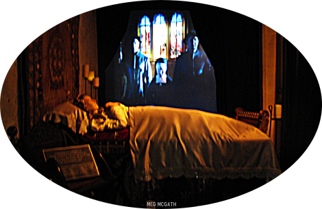 The queen lies in state inside St. Mary's Chapel at Sudeley Castle where she is buried, © Meg McGath, 2012.