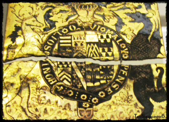 Garter stall plate of William Parr, 1st Marquess of Northampton, 1552. The plate was in St. George's Chapel, Windsor Castle, among other Garter plates, but upon the ascension of Queen Mary, Parr was stripped of his titles. His stall plate was taken down and broken apart.