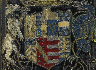 Vellutello's edition of Petrarch's works. Close up of arms.