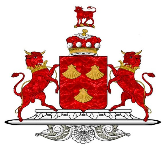 Coat of arms of the Barons of Dacre showing their heraldic charges, the Bull. European Heraldry.