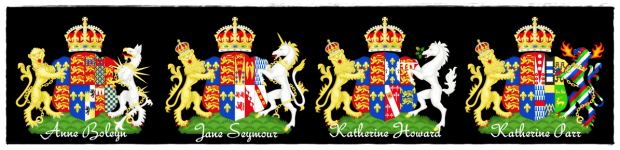 4 English Queens; the royal coats of arms of Queen Anne, Queen Jane, Queen Katherine Howard, and Queen Katherine Parr.