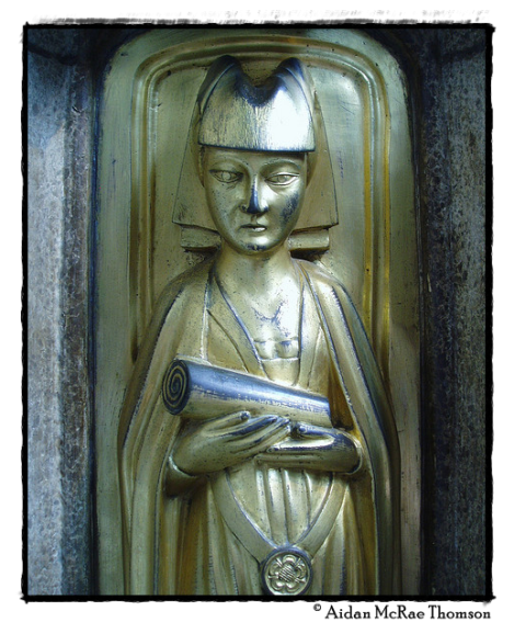 Detail of the magnificent tomb chest that bears the effigy of Richard Beauchamp, 13th Earl of Warwick in the chapel he founded at St Mary's, Warwick. This effigy is that of his daughter-in-law, Lady Cecily Neville.