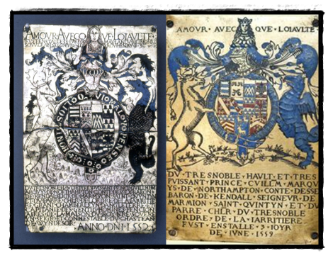 Two stall plates of Sir William Parr, Marquess of Northampton.
