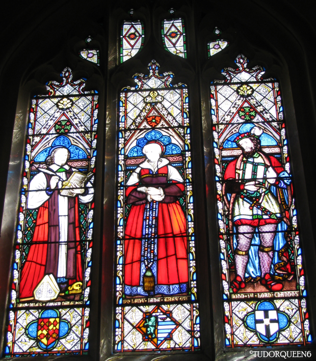 Stained glass at St. Mary's, Sudeley Castle (where Queen Catherine is buried). The window is shared with Lady Jane Grey and John Brydges, 1st Baron Chandos.