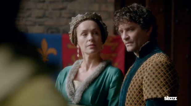 "Lord and Lady Warwick, Sir Richard Neville (James Frain) and Lady Anne Beauchamp (Juliet Aubrey). STARZ ""The White Queen"" (2013)"