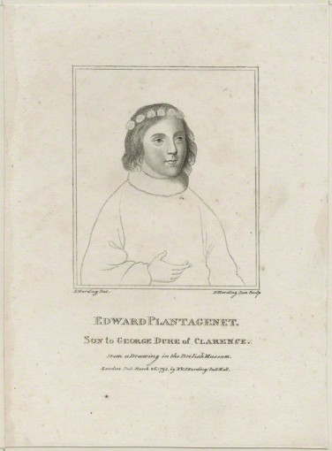 Edward (Plantagenet), Earl of Warwick and Salisbury by Edward Harding, published by  E. & S. Harding, after  Sylvester Harding, stipple engraving, published 26 March 1793.