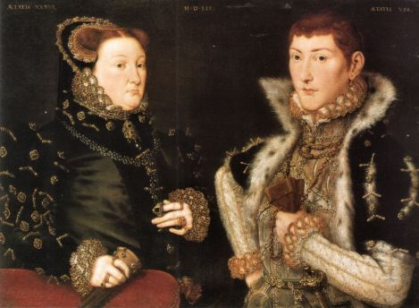 Mary Neville and her son Gregory Fiennes, 10th Baron Dacre by Hans Eworth c. 1559