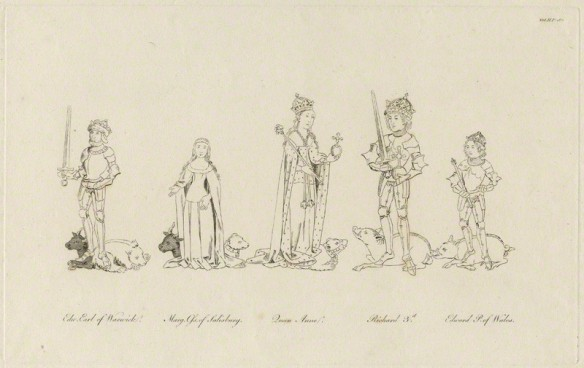 King Richard III, Queen Anne, Edward, Prince of Wales, Margaret, Countess of Salisbury and Edward, Earl of Warwick after Unknown artist