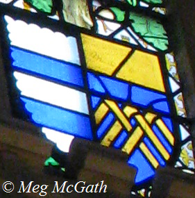 Impaled arms of Parr and FitzHugh, Hampton Court Palace Pedigree window of Katherine Parr.