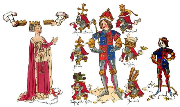 Richard III with his queen Anne and son, Edward, Prince of Wales.