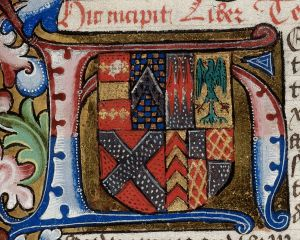 Detail of an illuminated initial 'H'(ere) with the arms of Anne Neville, wife of Richard III, at the beginning of book 3.