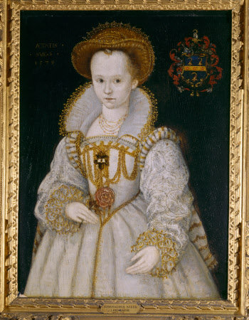 CHRYSOGNA BAKER, Lady Dacre, aged six (d.1616) who  married the 12th Lord Dacre (1589); a portrait (English 1579) by an unknown artist at The Vyne.
