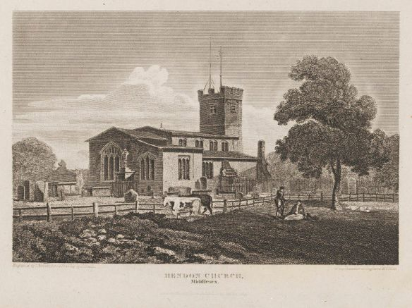 Hendon Church, Middlesex. London, England; June 1, 1815 (published). John Preston Neale, born 1766 - died 1847 (artist); Bonner, Thomas, born 1735 - died 1816 (engraver) Engraving. Given by Dr. G. B. Gardner. V&A Online Collections.
