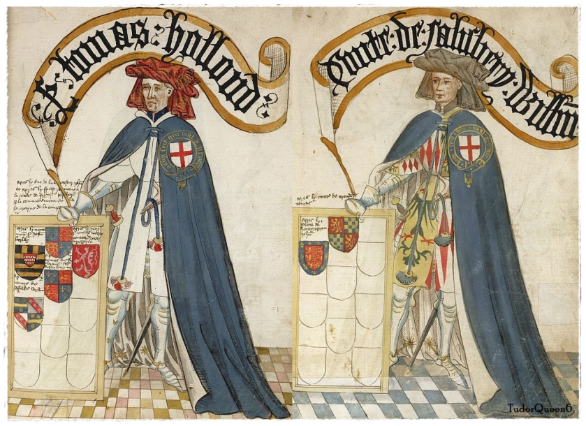 Left, Thomas Holland, Earl of Kent and right William, Earl of Salisbury; from the Bruges Garter Book, 1430/1440, BL Stowe 594