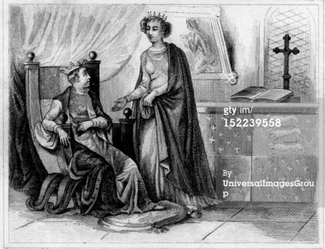 Portrait of Joan of Kent (1328-1385) with her son Richard II, 1377. (Photo by Photo12/UIG/Getty Images)