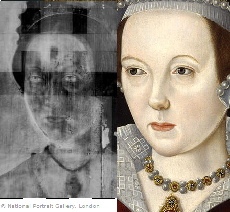 X-ray comparison of NPG portrait of Queen Katherine Parr by Master John compared to the queen's portrait attributed to Scrots (right).