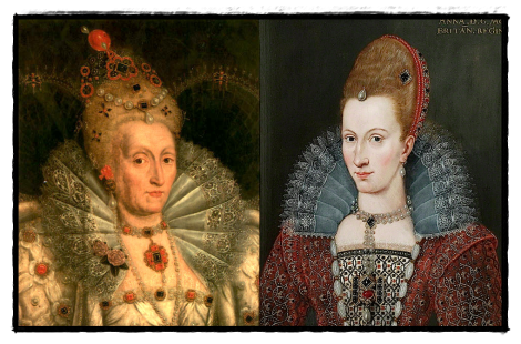 The inheritors of the Coronet Brooch, Elizabeth I and Anne of Denmark.