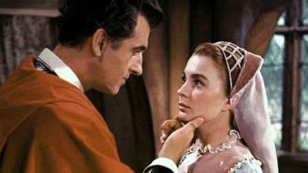 """Stewart Granger and Jean Simmons as Lord Seymour and Lady Elizabeth in """"Young Bess"""" (1953)"""