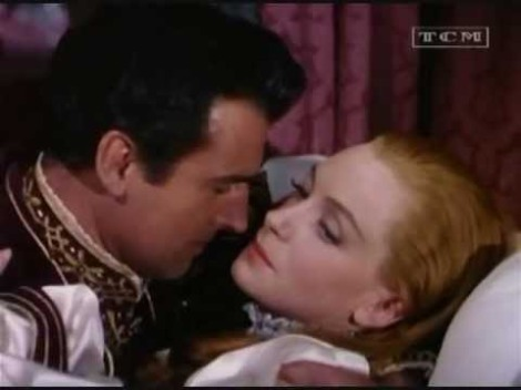 """Death scene of Queen Katherine played by Deborah Kerr and Stewart Granger as Thomas Seymour in """"Young Bess."""" Kerr had a strong resemblance to the real Queen Katherine."""