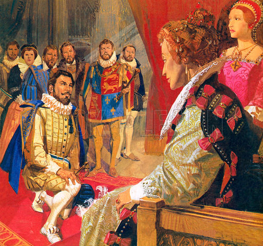 Sir Walter Raleigh before Queen Elizabeth