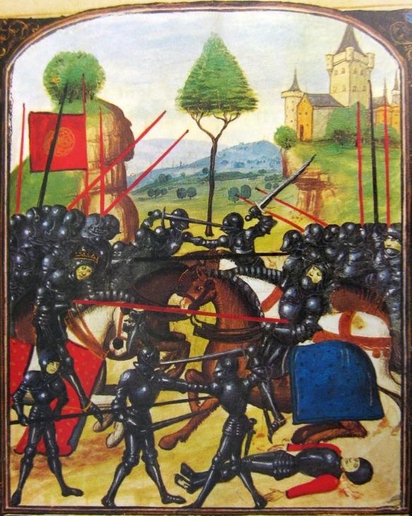 Late 15th-century artistic portrayal of the battle: Edward IV (left), wearing a crown and mounted on a horse, leads the Yorkist charge and pierces the Earl of Warwick (right) with his lance; in reality, Warwick was not killed by Edward.