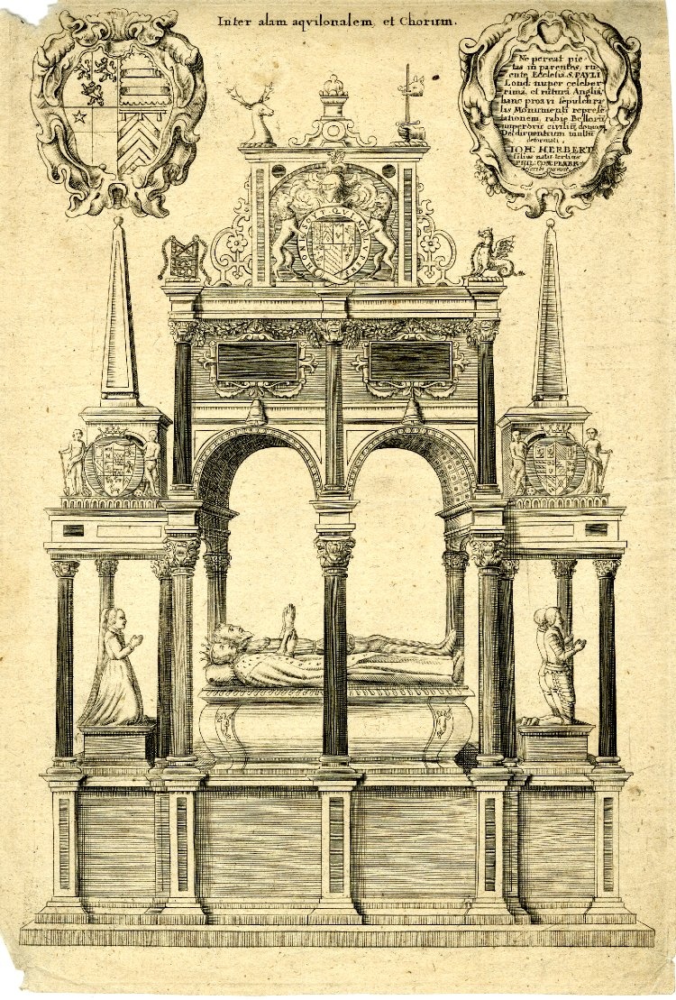 Tomb of William, Earl of Pembroke, in St Paul's; the tomb on a tall base on which lie a man and wife, in ermine robes, heads to left; eleven columns support a double arch above and obelisk topped extensions at the sides; two cartouches at top, to the left with coat of arms and to the right with dedication by 'Ioh Herbert'; illustration to William Dugdale's 'History of St Paul's' (London, 1658 and 1716)