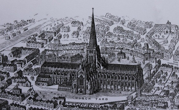 Old St. Paul's before the fire of 1666.