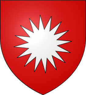 Original coat of arms of the House of Baux (Lords of Baux). Some authors, and local tradition, with a hagiographic aim, fancifully claimed that the family was descended from Balthazar, one of the three Magi (the 16-rayed star symbolizing the star of Bethlehem). Some, that they descended from the first kings of Armenia, the star signifying that they directly knew Jesus. The motto of the family was 'Au Hasard Baltasar', as well as 'Jamais Vassal' and 'Semper Ardentius'