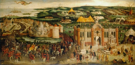 """""""The Field of the Cloth of Gold"""" British School, 16th century (artist) c.1545 (Royal Collection under Wiki Commons)"""