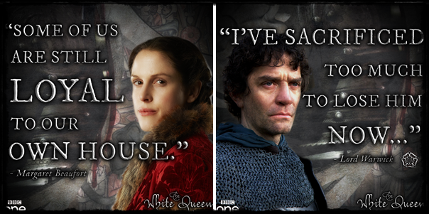 Margaret Beaufort portrayed by Amanda Hale and Lord Warwick portrayed by James Frain