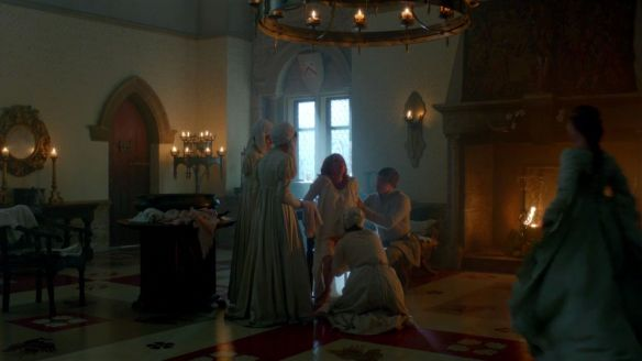 """The White Queen"", episode 6 shows Elizabeth giving birth. Unlike real life, no men would have been present and the windows would have been covered."