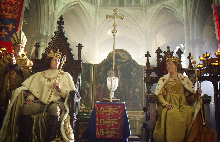 "Aneurin Barnard as King Richard III and Faye Marsay and Queen Anne. Fictional portrayal in Philippa Gregory's ""The White Queen"" (2013)."