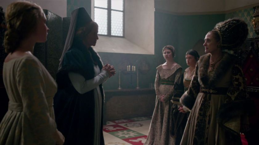 The Duchess is accosted by Lady Rivers about her supposed affair in 'The White Queen'.