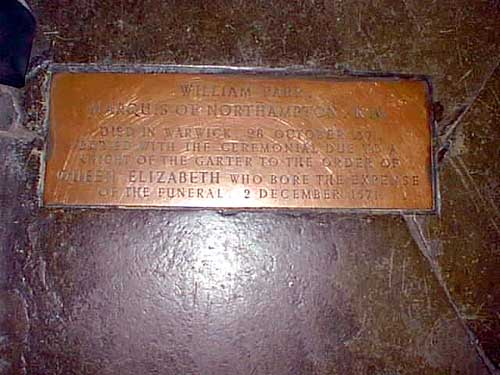 The only commemoration of Northampton even being buried in St. Mary's is marked by only a stone tablet.