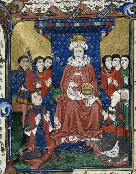 Detail of a miniature of a king enthroned surrounded by courtiers with Sir William Herbert and his wife, Anne Devereux kneeling before him, wearing clothes decorated with their coats of arms, from John Lydgate's Troy Book and Siege of Thebes, with verses by William Cornish, John Skelton, William Peeris and others, England, c. 1457 (with later additions), Royal 18 D. ii, f. 6.