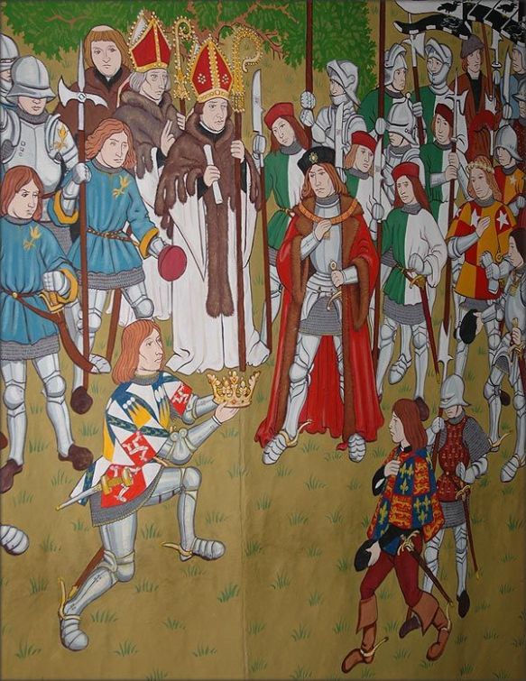 Stanley offers the crown to Henry of Richmond on the battlefield.