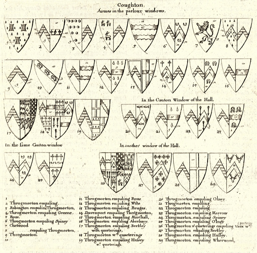 Wenceslas Hollar's depiction of the heraldry at Coughton Court. The additions were made by Sir George.